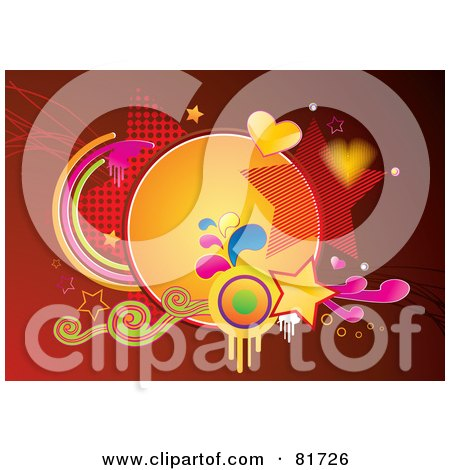 Royalty-Free (RF) Clipart Illustration of a Funky Red Background With Grunge, Swirls, Stars And Hearts by MilsiArt
