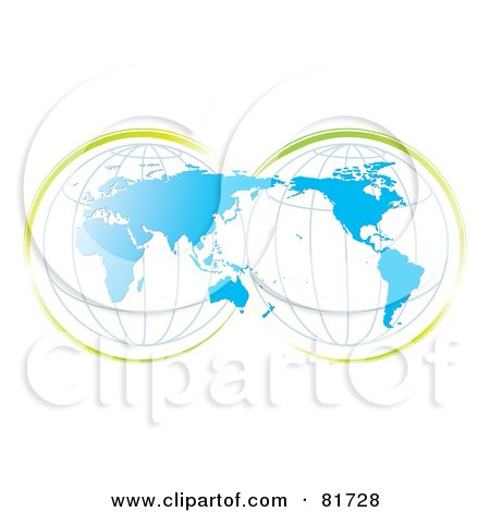 Royalty-Free (RF) Clipart Illustration of a Double Globe Blue Map With Green Accents by MilsiArt