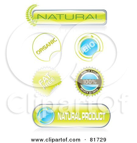 Royalty-Free (RF) Clipart Illustration of a Digital Collage Of Bio Stickers, Seals And Icons by MilsiArt