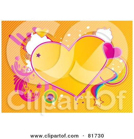 Royalty-Free (RF) Clipart Illustration of a Funky Shiny Yellow Heart Background With Grunge, Vines, Stars And Rainbows by MilsiArt