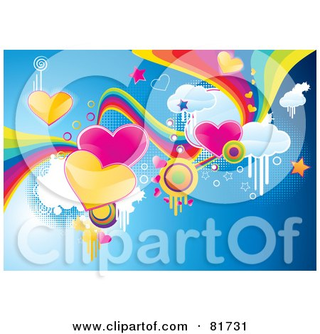 Royalty-Free (RF) Clipart Illustration of a Funky Valentine Background Of Hearts, Rainbows, Clouds And Stars On Blue by MilsiArt