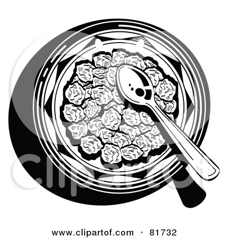 Royalty-Free (RF) Clipart Illustration of a Black And White Aerial View Of A Spoon In A Bowl Of Cereal by Andy Nortnik