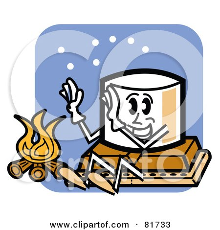 Royalty-Free (RF) Clipart Illustration of a Happy Marshmallow Sitting On Top Of Chocolate And A Graham Cracker, Warming Up By A Fire by Andy Nortnik