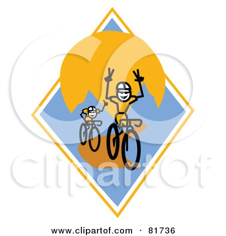 Royalty-Free (RF) Clipart Illustration of Stick People Bikers, One With His Hands Off The Bars, On A Blue And Orange Mountain Diamond by Andy Nortnik