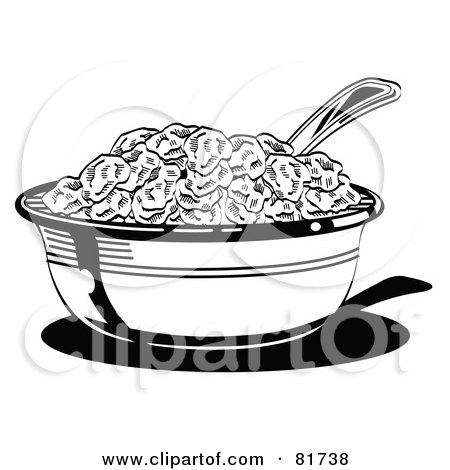 Royalty-Free (RF) Clipart Illustration of a Black And White Bowl Of Cereal With A Spoon by Andy Nortnik