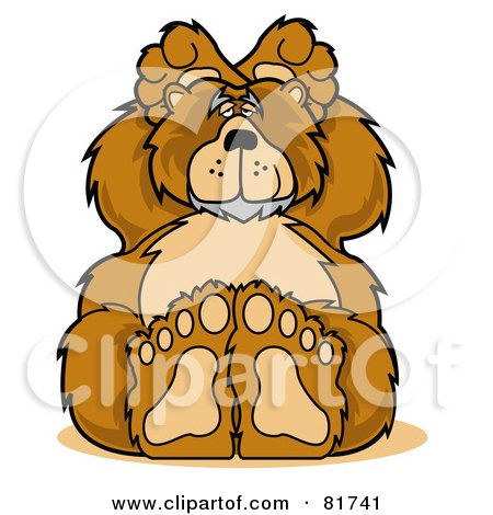 Big Furry Bear Holding His Hands Behind His Ears Posters, Art Prints