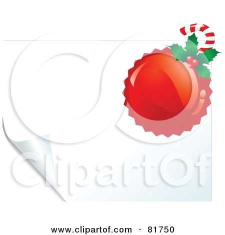 Royalty-Free (RF) Clipart Illustration of a Red Stamp With Holly And A Candy Cane On A White Turning Page by Pushkin