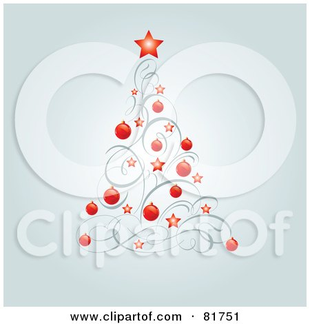 Royalty-Free (RF) Clipart Illustration of a Christmas Tree Of Red Stars, Red Baubles And Swirls by Pushkin