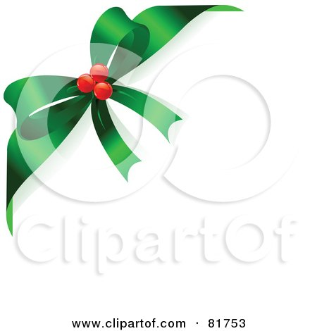 Royalty-Free (RF) Clipart Illustration of a Green Christmas Bow With Red Berries, Around The Corner Of A White Background by Pushkin