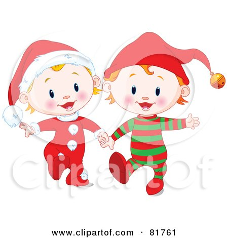 Royalty-Free (RF) Clipart Illustration of Two Christmas Babies In Santa And Elf Suits, Walking And Holding Hands by Pushkin