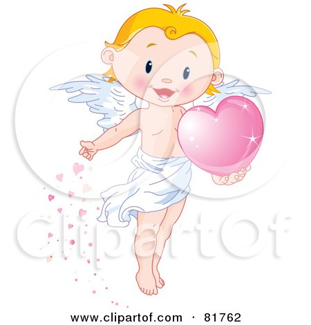 Royalty-Free (RF) Clipart Illustration of a Cute Blond Boy Angel Scattering Pink Hearts by Pushkin