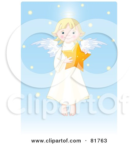 Royalty-Free (RF) Clipart Illustration of a Cute Blond Girl Angel Holding A Star In A Blue Snow Sky by Pushkin