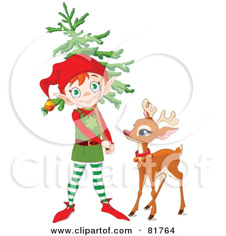 Royalty-Free (RF) Clipart Illustration of a Cute Christmas Elf Carrying A Tree And Standing By Rudolph by Pushkin