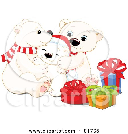 Royalty-Free (RF) Clipart Illustration of an Adorable Polar Bear Family Snuggling By Christmas Presents by Pushkin