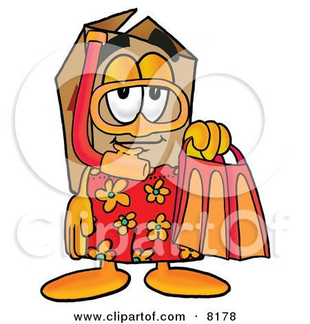Clipart Picture of a Cardboard Box Mascot Cartoon Character in Orange and Red Snorkel Gear by Toons4Biz