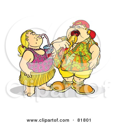 Royalty-Free (RF) Clipart Illustration of a Fat Brother And Sister Eating And Drinking Unhealthy Food by Snowy