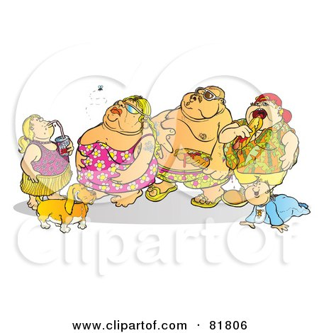 Royalty-Free (RF) Clipart Illustration of a Fat Family In Swimsuits, Drinking And Eating by Snowy