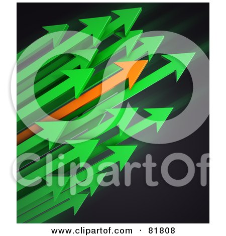 Royalty-Free (RF) Clipart Illustration of a Cluster Of Green And Orange Arrows Shooting To The Right by Mopic