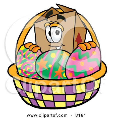 Clipart Picture of a Cardboard Box Mascot Cartoon Character in an Easter Basket Full of Decorated Easter Eggs by Toons4Biz