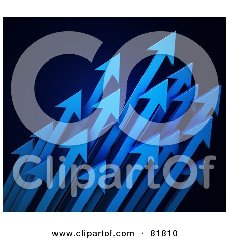 Royalty-Free (RF) Clipart Illustration of a Cluster Of Blue Arrows Shooting Diagonally Upwards To The Right by Mopic