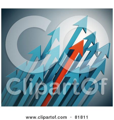 Royalty-Free (RF) Clipart Illustration of a Turquoise And Red Arrows Shooting Diagonally Upwards To The Right by Mopic