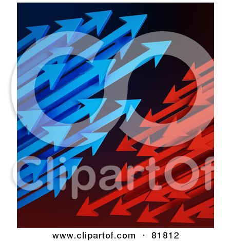 Royalty-Free (RF) Clipart Illustration of Clusters Of Blue And Red Arrows Shooting Left And Right by Mopic