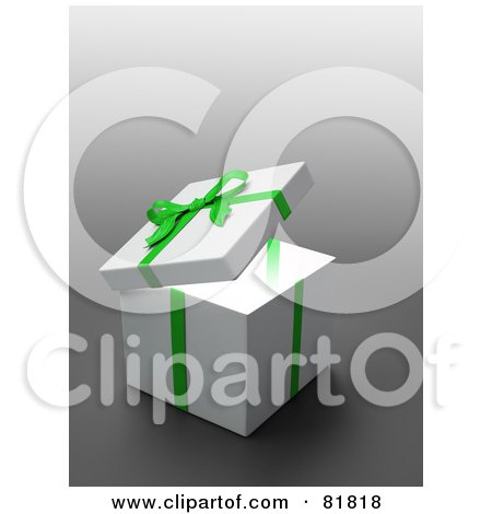 Royalty-Free (RF) Clipart Illustration of a White 3d Gift Box Wrapped With A Green Bow And Ribbons by Mopic