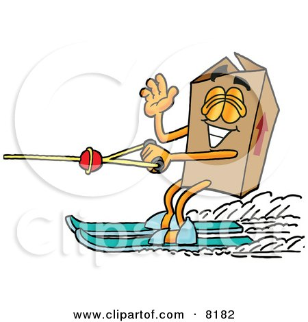 Clipart Picture of a Cardboard Box Mascot Cartoon Character Waving While Water Skiing by Toons4Biz