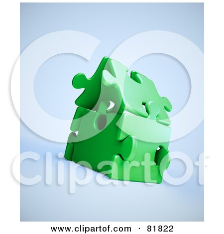 Royalty-Free (RF) Clipart Illustration of a 3d Green Puzzle Piece House by Mopic