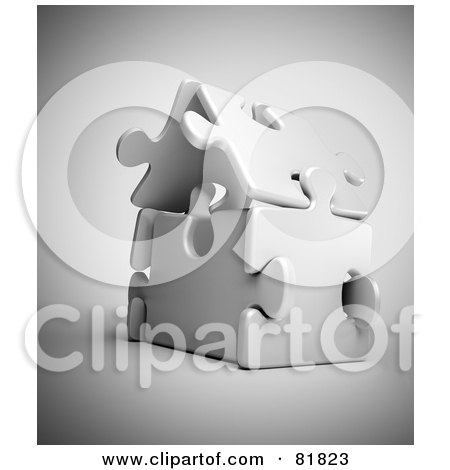 Royalty-Free (RF) Clipart Illustration of a 3d White Puzzle Piece House by Mopic