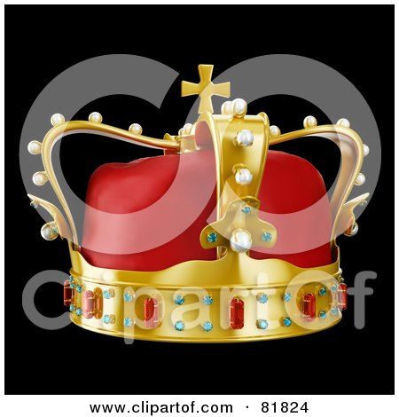 Royalty-Free (RF) Clipart Illustration of a 3d Golden And Red Crown Adorned With Pearls, Rubies And Sapphires, On Black by Mopic