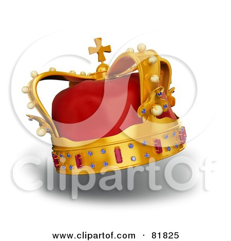 Royalty-Free (RF) Clipart Illustration of a 3d Golden And Red Crown Adorned With Pearls, Rubies And Sapphires, On White by Mopic