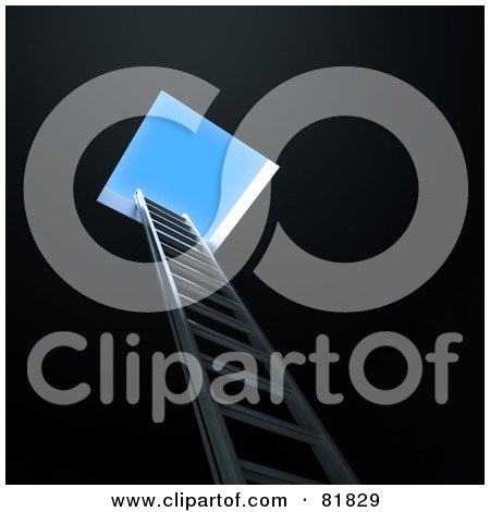 Royalty-Free (RF) Clipart Illustration of a 3d Ladder Leading Up From The Darkness To A Hole And A Blue Sky by Mopic