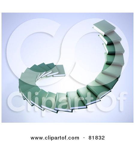 Royalty-Free (RF) Clipart Illustration of a Spiral Staircase Of Green Book Steps by Mopic