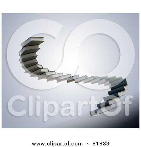 Royalty-Free (RF) Clipart Illustration of a Spiral Staircase Of Gray Book Steps by Mopic