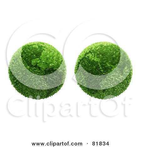 Royalty-Free (RF) Clipart Illustration of a Digital Collage Of Two Botanical Earths Featuring The Americas And Africa by Mopic
