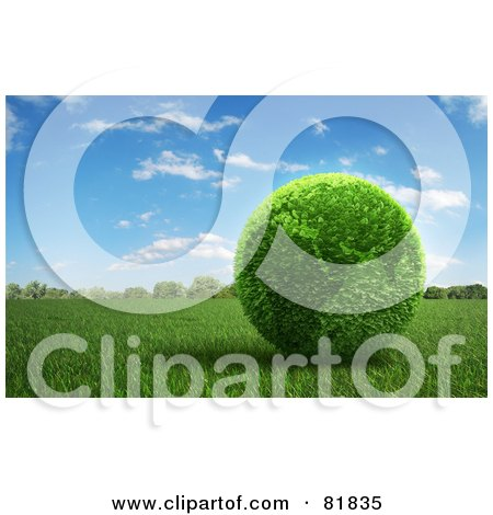 Royalty-Free (RF) Clipart Illustration of a 3d Botanical Africa Earth On A Field Of Grass by Mopic