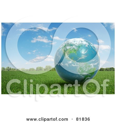 Royalty-Free (RF) Clipart Illustration of a 3d Earth Globe Resting On Grass Outdoors by Mopic