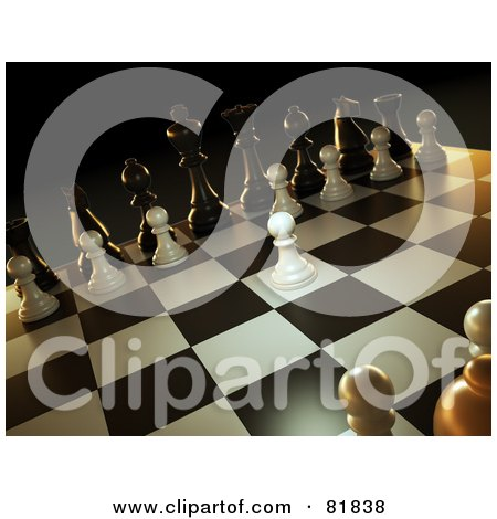 3d Angled Scene Of A Chess Game, A White Pawn Forward Posters, Art Prints