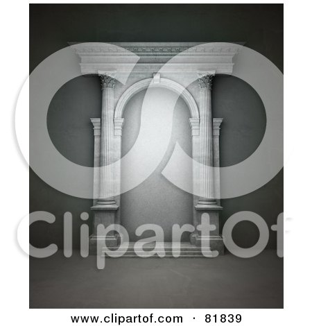 Royalty-Free (RF) Clipart Illustration of a 3d White Stone Portal With Columns by Mopic