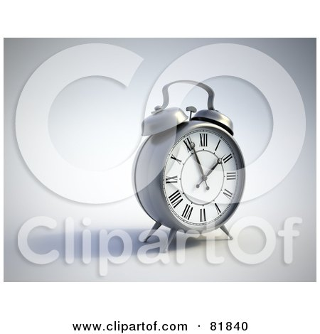 Royalty-Free (RF) Clipart Illustration of a Silver Alarm Clock Facing Slightly Right by Mopic