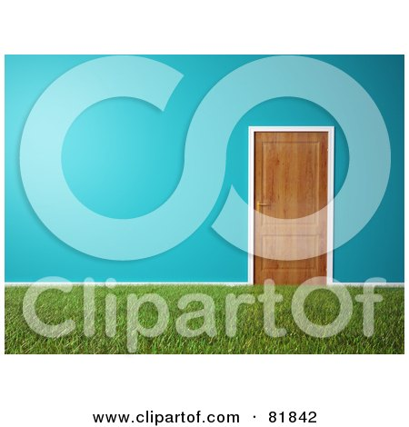 Royalty-Free (RF) Clipart Illustration of a Grassy Carpet In A Room With Blue Walls, White Trim And A Wooden Door by Mopic