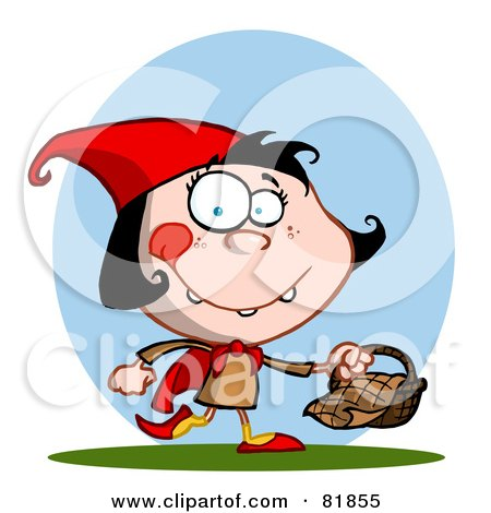Royalty-Free (RF) Clipart Illustration of a Little Red Riding Hood Girl Carrying A Basket In Front Of A Blue Oval by Hit Toon