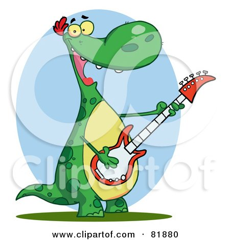 Royalty-Free (RF) Clipart Illustration of a Guitarist Dinosaur Singing by Hit Toon