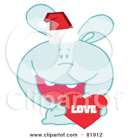 of a blue christmas bunny wearing a santa hat and holding a love heart,