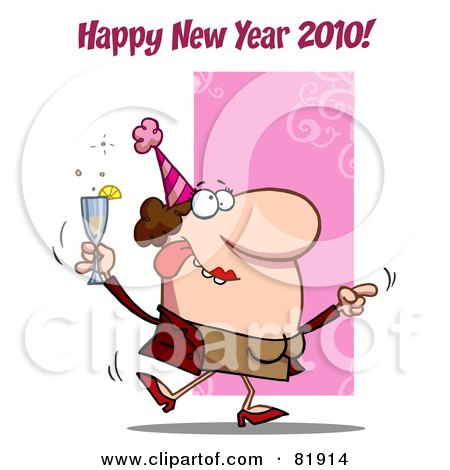 Royalty-Free (RF) Clipart Illustration of a Happy New Year 2010 Greeting Of A Drunk Dancing Woman Holding Bubbly At A Party by Hit Toon