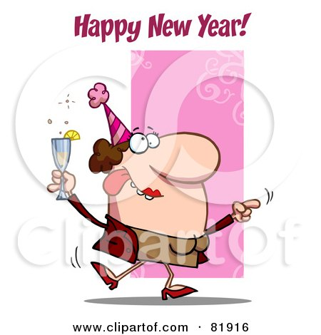 Royalty-Free (RF) Clipart Illustration of a Happy New Year Greeting Of A Drunk Dancing Woman Holding Bubbly At A Party by Hit Toon