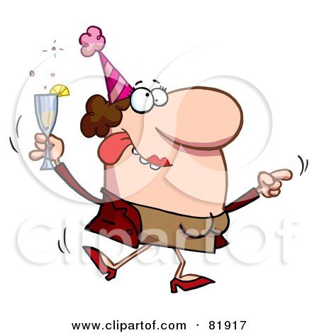 Royalty-Free (RF) Clipart Illustration of a Drunk Dancing Lady Holding Bubbly At A Party by Hit Toon