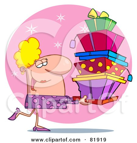 Royalty-Free (RF) Clipart Illustration of a Female Christmas Shopper Carrying Stacked Gift Boxes by Hit Toon