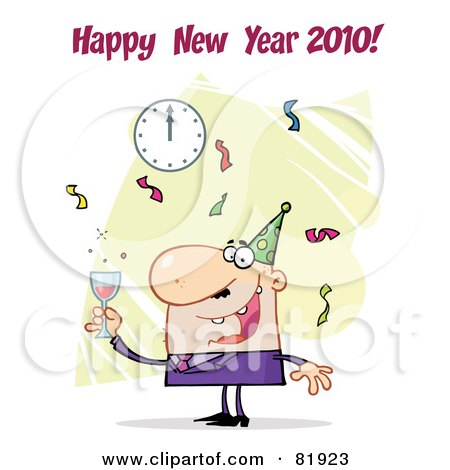 Royalty-Free (RF) Clipart Illustration of a Happy New Year Greeting Of A Man Toasting At A Party - Version 2 by Hit Toon
